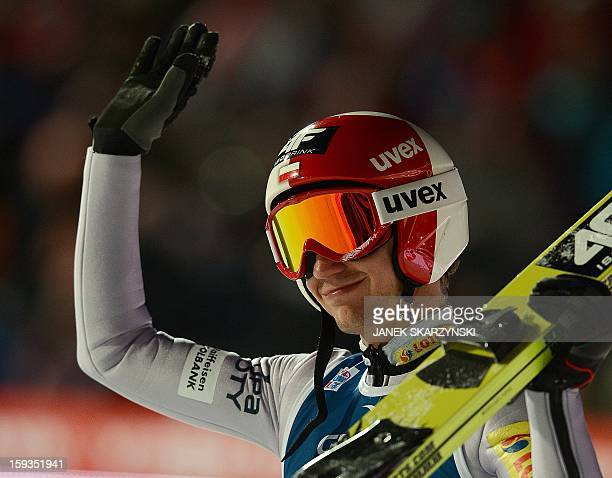 Kamil Stoch from Poland reacts at the end of the 16th World Cup Ski Jumping competition in Zakopane on January 12 2013 Stoch took thired place in the...