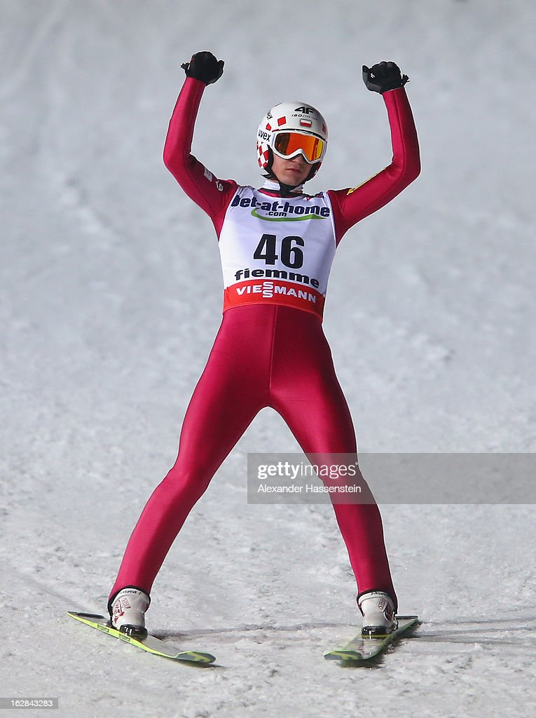 Kamil Stoch of Poland celebrates victory during the Men's Ski Jumping HS134 Final Round at the FIS Nordic World Ski Championships on February 28, 2013 in Val di Fiemme, Italy.