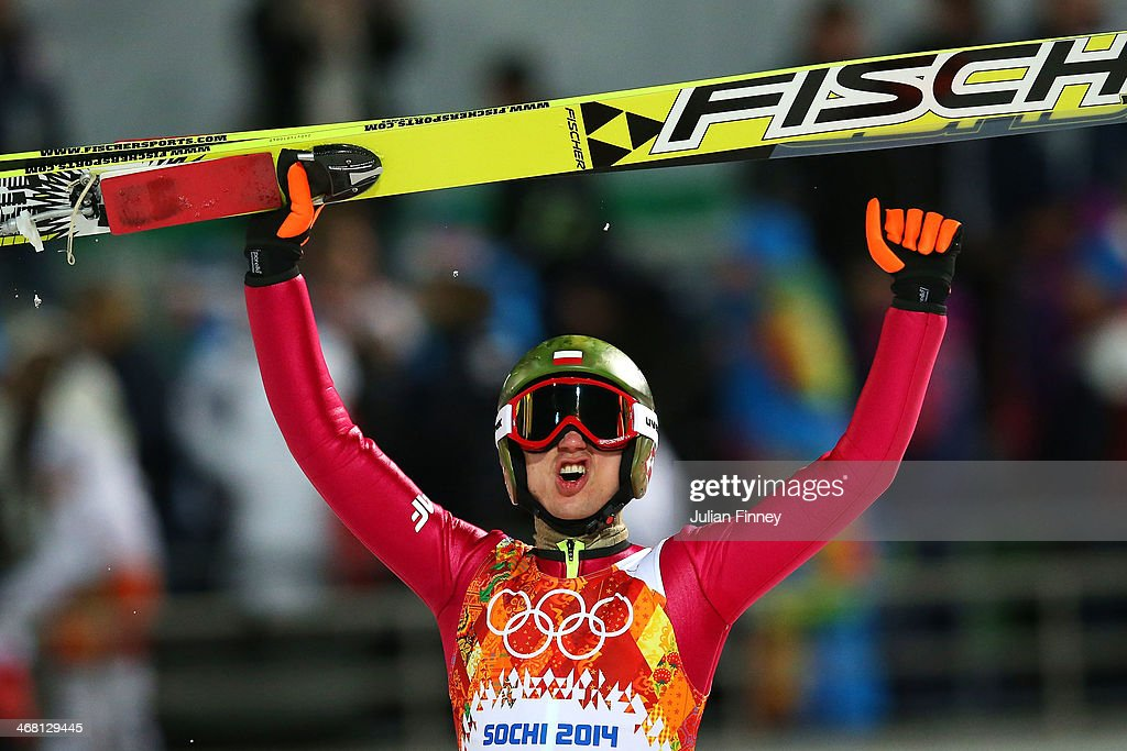 <a gi-track='captionPersonalityLinkClicked' href=/galleries/search?phrase=Kamil+Stoch&family=editorial&specificpeople=820513 ng-click='$event.stopPropagation()'>Kamil Stoch</a> of Poland celebrates winning gold after his jump in the Men's Normal Hill Individual Final on day 2 of the Sochi 2014 Winter Olympics at the RusSki Gorki Ski Jumping Center on February 9, 2014 in Sochi, Russia.