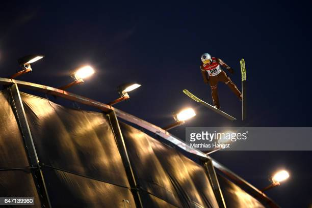 Kamil Stoch of Poland competes during the Men's Ski Jumping HS130 at the FIS Nordic World Ski Championships on March 2 2017 in Lahti Finland