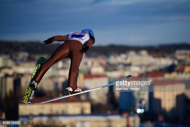 Kamil Stoch of Poland competes during the Men's Team Ski Jumping HS130 at the FIS Nordic World Ski Championships on March 4 2017 in Lahti Finland