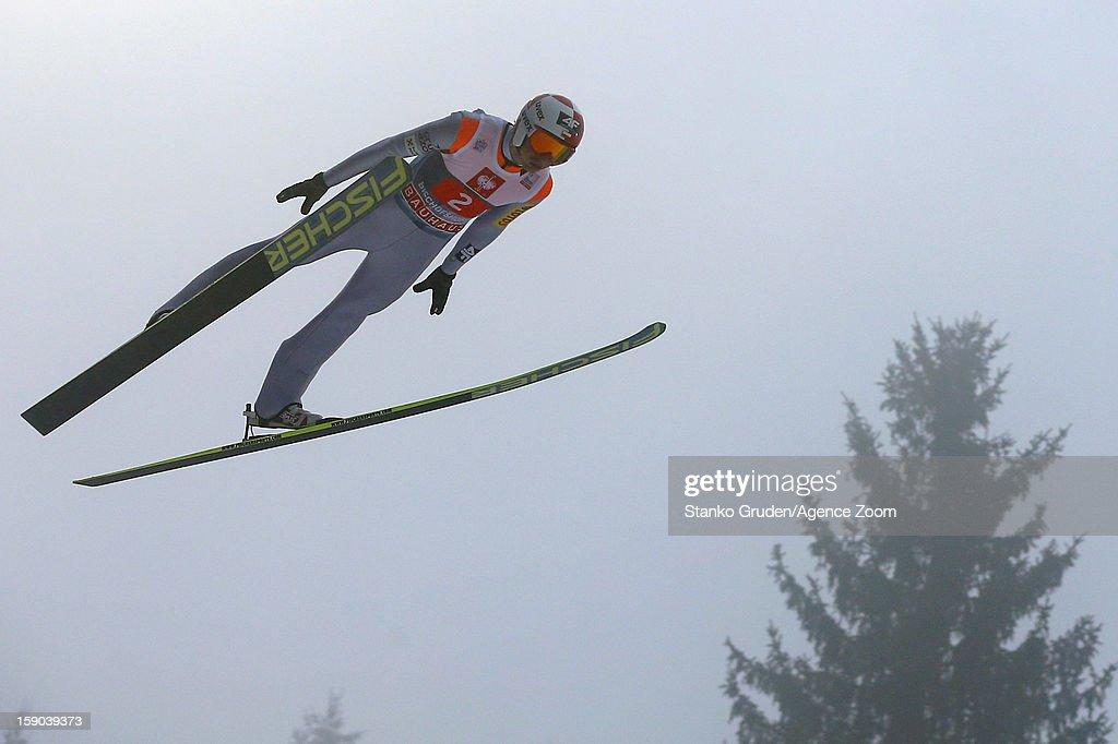 Kamil Stoch of Poland during the FIS Ski Jumping World Cup Vierschanzentournee (Four Hills Tournament) on January 06, 2013 in Bischofshofen, Austria.