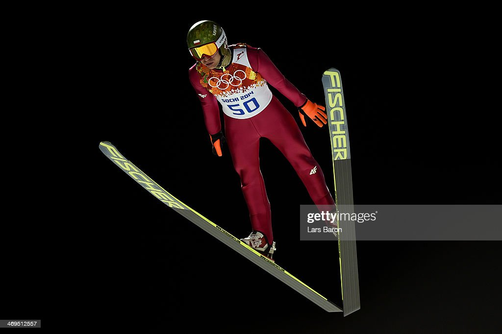 <a gi-track='captionPersonalityLinkClicked' href=/galleries/search?phrase=Kamil+Stoch&family=editorial&specificpeople=820513 ng-click='$event.stopPropagation()'>Kamil Stoch</a> of Poland jumps during the Men's Large Hill Individual 1st Round on day 8 of the Sochi 2014 Winter Olympics at the RusSki Gorki Ski Jumping Center on February 15, 2014 in Sochi, Russia.