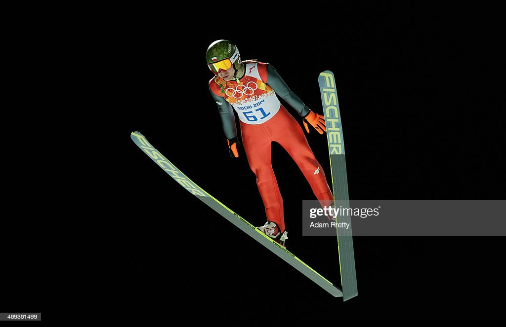 <a gi-track='captionPersonalityLinkClicked' href=/galleries/search?phrase=Kamil+Stoch&family=editorial&specificpeople=820513 ng-click='$event.stopPropagation()'>Kamil Stoch</a> of Poland jumps during the Men's Large Hill Individual Qualification on day 7 of the Sochi 2014 Winter Olympics at the RusSki Gorki Ski Jumping Center on February 14, 2014 in Sochi, Russia.