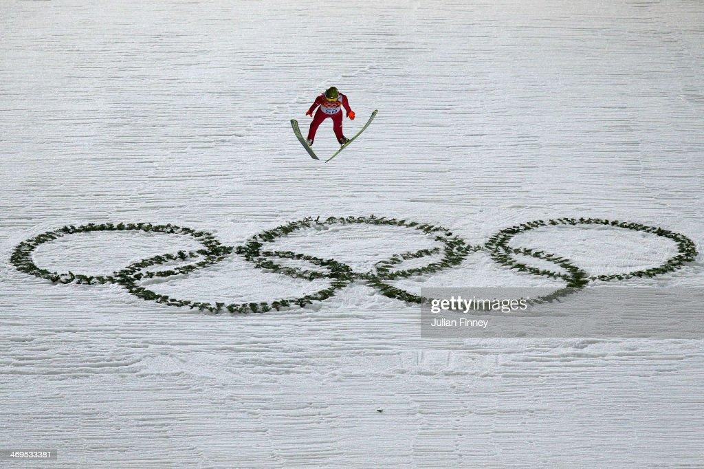 Kamil Stoch of Poland jumps during the Men's Large Hill Individual Final Round on day 8 of the Sochi 2014 Winter Olympics at the RusSki Gorki Ski Jumping Center on February 15, 2014 in Sochi, Russia.