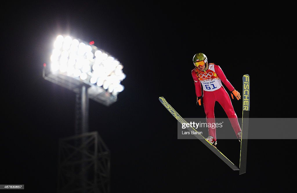 <a gi-track='captionPersonalityLinkClicked' href=/galleries/search?phrase=Kamil+Stoch&family=editorial&specificpeople=820513 ng-click='$event.stopPropagation()'>Kamil Stoch</a> of Poland jumps during the Men's Normal Hill Individual Qualification on day 1 of the Sochi 2014 Winter Olympics at the RusSki Gorki Ski Jumping Center on February 8, 2014 in Sochi, Russia.