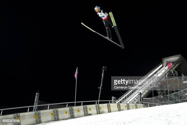 Kamil Stoch of Poland jumps during trainining for the 2017 FIS Ski Jumping World Cup test event For PyeongChang 2018 at Alpensia Ski Jumping Center...