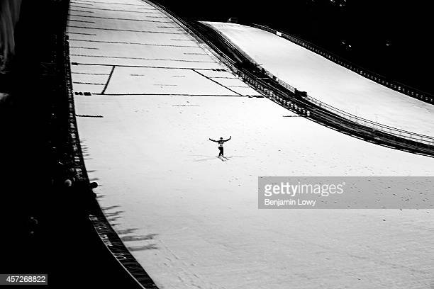 Kamil Stoch of Poland lands his jump during the Men's Large Hill Individual Final Round on day 8 of the Sochi 2014 Winter Olympics at the RusSki...