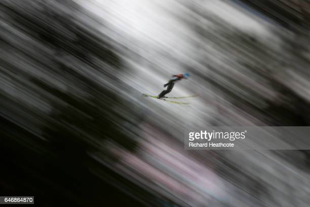 Kamil Stoch of Poland makes a trial jump prior to the Men's Ski Jumping HS130 qualification round during the FIS Nordic World Ski Championships on...