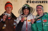 Kamil Stoch of Poland poses with his Gold medal Peter Prevc of Slovenia his Silver and Anders Jacobsen of Norway his Bronze during the Medal Ceremony...