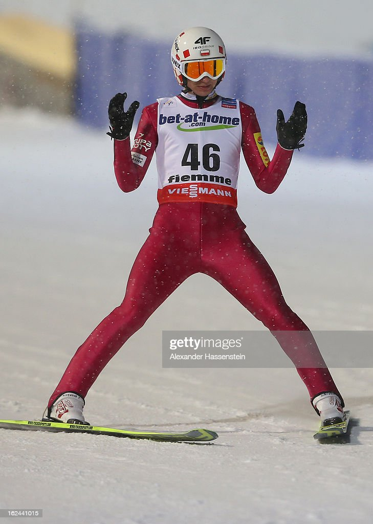 Kamil Stoch of Poland reacts to his jump during the Men's Ski Jumping HS106 Final Round at the FIS Nordic World Ski Championships on February 23, 2013 in Val di Fiemme, Italy.