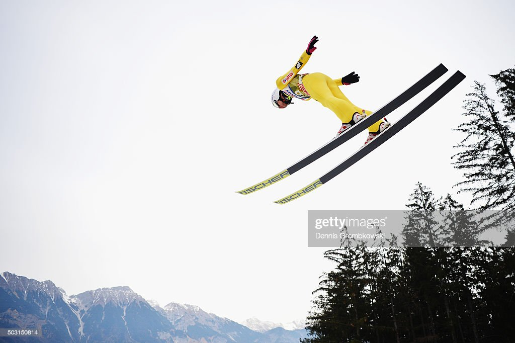 <a gi-track='captionPersonalityLinkClicked' href=/galleries/search?phrase=Kamil+Stoch&family=editorial&specificpeople=820513 ng-click='$event.stopPropagation()'>Kamil Stoch</a> of Poland soars through the air during his training jump on day 1 of the 64th Four Hills Tournament ski jumping event on January 2, 2016 in Innsbruck, Austria.