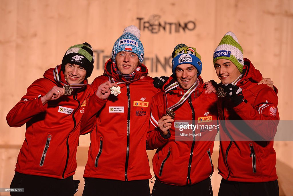 Kamil Stoch, Piotr Zyla, Maciej Kot and Dawid Kubacki of Poland celebrate with their Bronze medals at the medal ceremony for the Men's Ski Jumping Team HS134 at the FIS Nordic World Ski Championships on March 2, 2013 in Val di Fiemme, Italy.