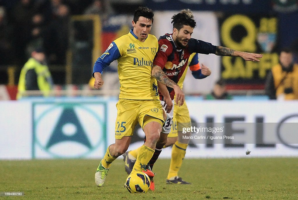 Kamil Vacek (L) of AC Chievo Verona competes for the ball with Panagiotis Kone # 33 of Bologna FC during the Serie A match between Bologna FC and AC Chievo Verona at Stadio Renato Dall'Ara on January 12, 2013 in Bologna, Italy.