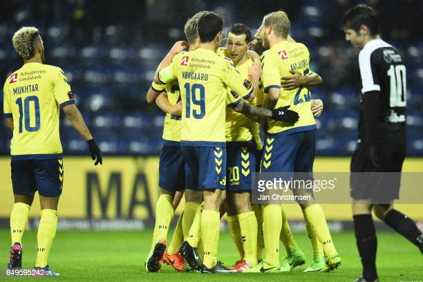 Kamil Wilczek and teammates from Brondby IF celebrates after his 30 goal during the Danish Cup DBU Pokalen match between BK Marienlyst and Brondby IF...