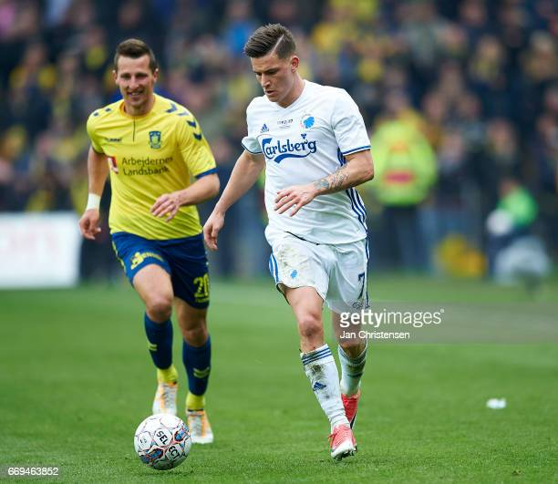 Kamil Wilczek of Brondby IF and Benjamin Verbic of FC Copenhagen in action during the Danish Alka Superliga match between Brondby IF and FC...