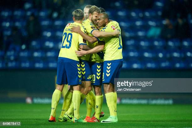 Kamil Wilczek of Brondby IF and teammates celebrates his 30 goal during the the Danish Cup DBU Pokalen match between BK Marienlyst and Brondby IF at...