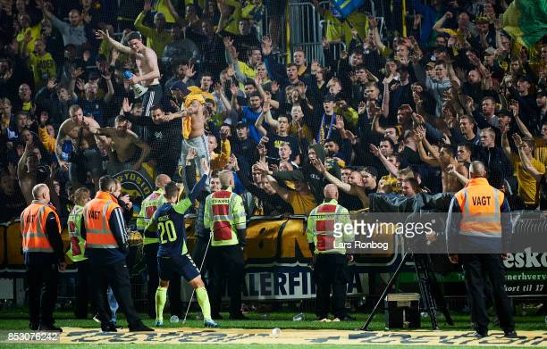 Kamil Wilczek of Brondby IF celebrates with the fans after the Danish Alka Superliga match between Hobro IK and Brondby IF at DS Arena on September...