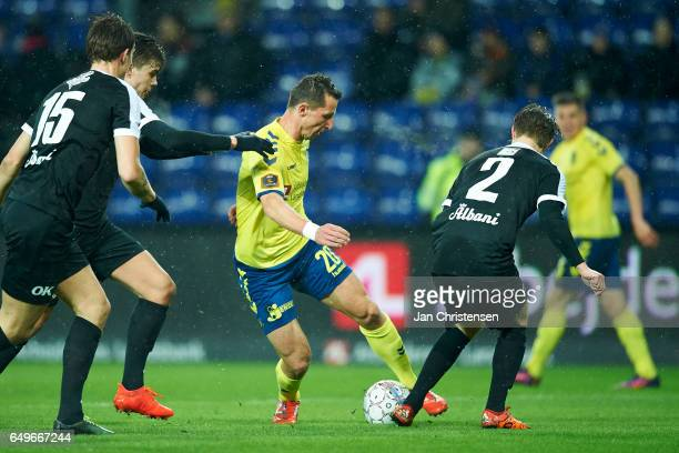 Kamil Wilczek of Brondby IF compete for the ball during the Danish Cup DBU Pokalen match between BK Marienlyst and Brondby IF at Brondby Stadion on...