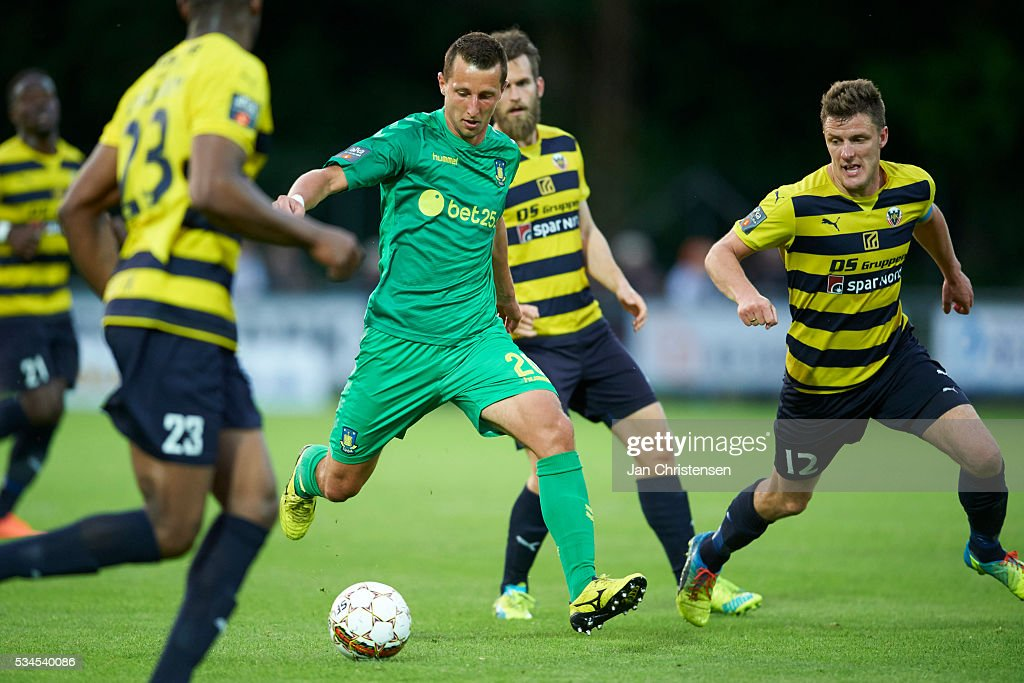 Kamil Wilczek of Brondby IF controls the ball during the Danish Alka Superliga match between Hobro IK and Brondby IF at DS Arena on May 26, 2016 in Hobro, Denmark.