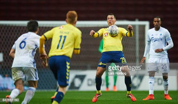 Kamil Wilczek of Brondby IF controls the ball during the Danish Alka Superliga match between FC Copenhagen and Brondby IF at Telia Parken Stadium on...