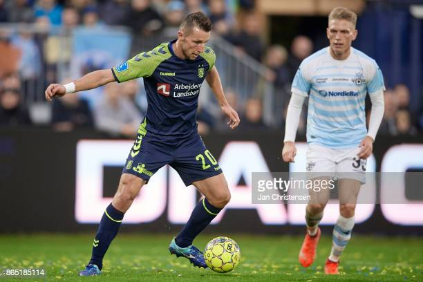 Kamil Wilczek of Brondby IF controls the ball during the Danish Alka Superliga match between FC Helsingor and Brondby IF at Helsingor Stadion on...