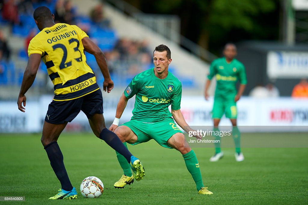 Kamil Wilczek of Brondby IF in action during the Danish Alka Superliga match between Hobro IK and Brondby IF at DS Arena on May 26, 2016 in Hobro, Denmark.