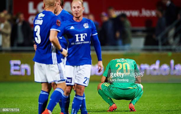 Kamil Wilczek of Brondby IF looks dejected during the Danish Alka Superliga match between Lyngby BK and Brondby IF at Lyngby Stadion on September 22...