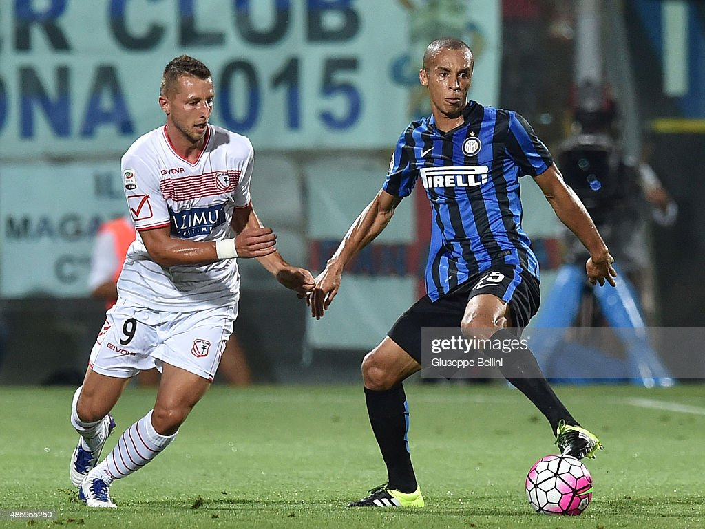 Kamil Wilczek of Carpi FC and Joao Miranda of FC Internazionale Milano in action during the Serie A match between Carpi FC and FC Internazionale...