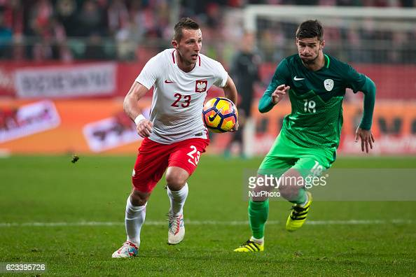 Kamil Wilczek of Poland during the international friendly football match Poland vs Slovenia on November 14 2016 in Wroclaw