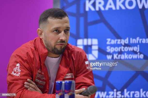 Kamil Wisniewski a Polish quad rally driver and participant of Dakar Rally 2018 speaks during a press conference ahead of the Krakow's leg of the FIM...
