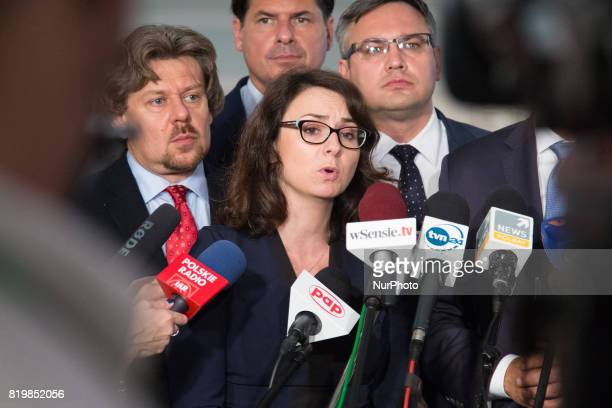 Kamila GasiukPihowicz from opposition Nowoczesna party during the press conference at lower house of Polish Parliament in Warsaw Poland on 19 July...
