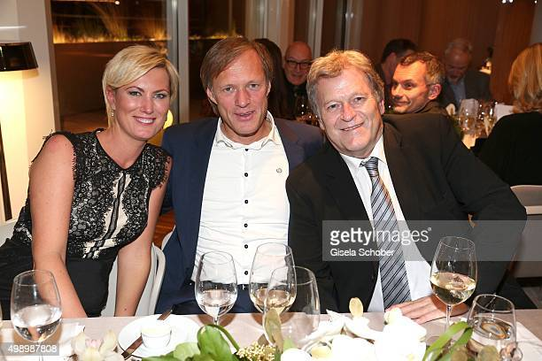 Kamilla Senjo and Gerhard Delling and Norbert Haug during the ARD advent dinner hosted by the program director of the tv station Erstes Deutsches...