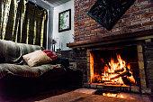 lightened fire in a chimney