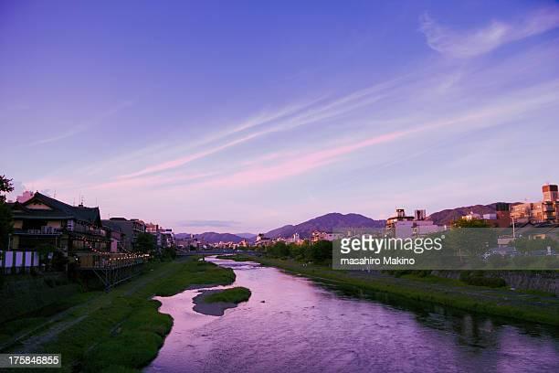 Kamo river at dusk