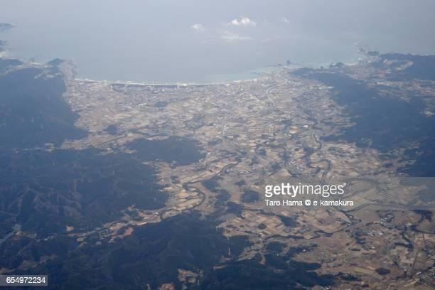 Kamogawa city aerial view from airplane