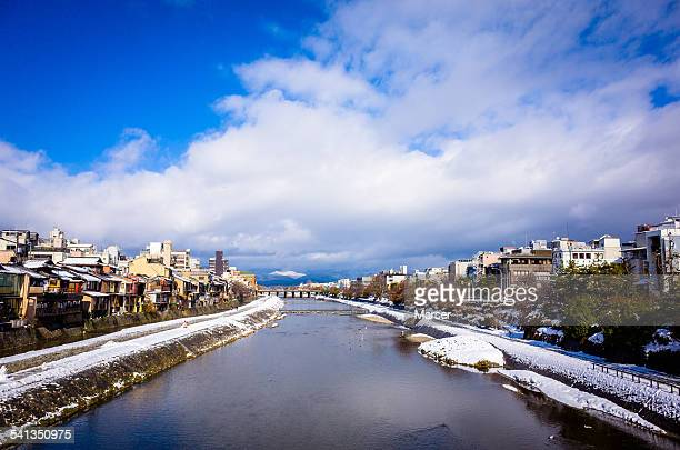 Kamo-gawa river covered with snow