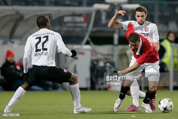 Kamohelo Mokotjo of FC Twente Gianni Zuiverloon of ADO Den Haag Luc Castaignos of FC Twente during the Dutch Eredivisie match between ADO Den Haag...