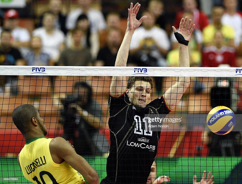 Kampa Lukas defends the ball during the FIVB World Championships match between Brazil and Germany on September 1, 2014 in Katowice, Poland.