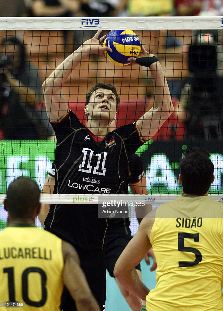 Kampa Lukas receives the ball during the FIVB World Championships match between Brazil and Germany on September 1, 2014 in Katowice, Poland.