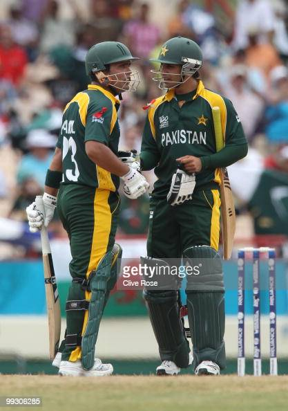 Kamran Akmal and Salman Butt of Pakistan look on during the ICC World Twenty20 semi final between Australia and Pakistan at the Beausjour Cricket...