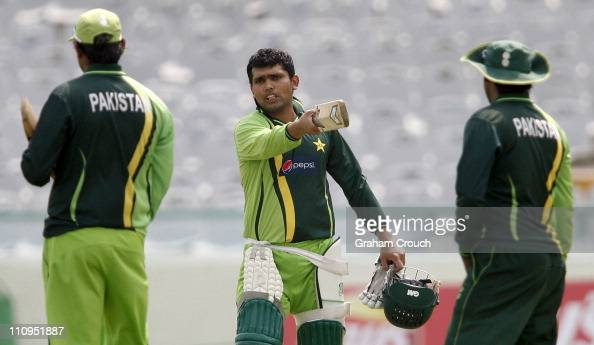 Kamran Akmal gestures during a Pakistan nets session at the Punjab Cricket Association Stadium on March 28 2011 in Mohali India India will play...