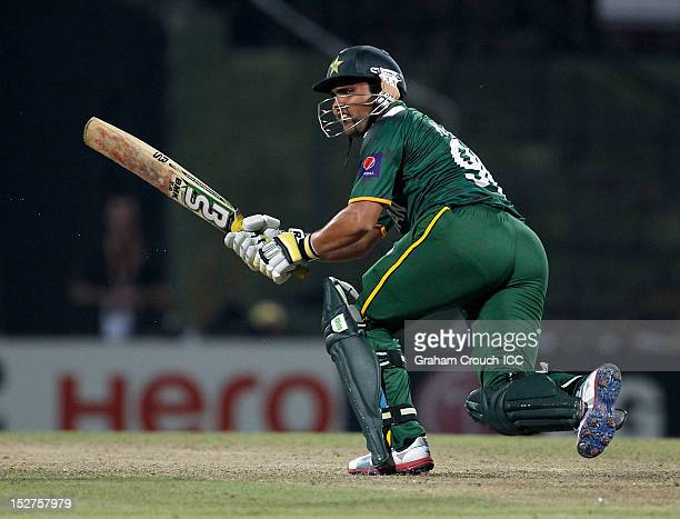 Kamran Akmal of Pakistan bats during the Group D match between Pakistan and Bangladesh at Pallekele Cricket Stadium on September 25 2012 in Kandy Sri...