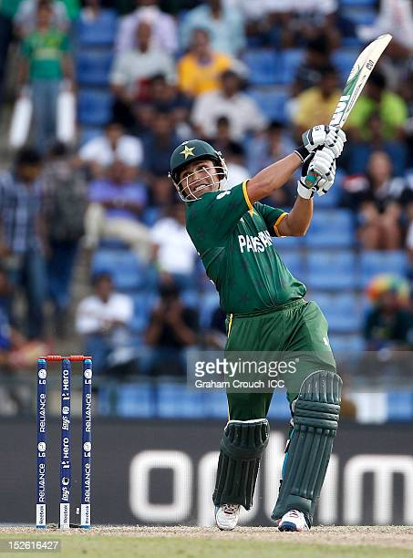 Kamran Akmal of Pakistan bats during the ICC World T20 Group D match between New Zealand and Pakistan at Pallekele Cricket Stadium on September 23...