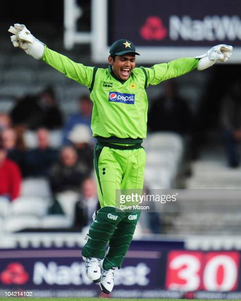 Kamran Akmal of Pakistan celebrates the catch to dismiss Ravi Bopara of England during the 3rd NatWest One Day International between England and...