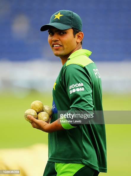 Kamran Akmal of Pakistan looks on during a Pakistan nets session at the SWALEC stadium on September 4 2010 in Cardiff Wales