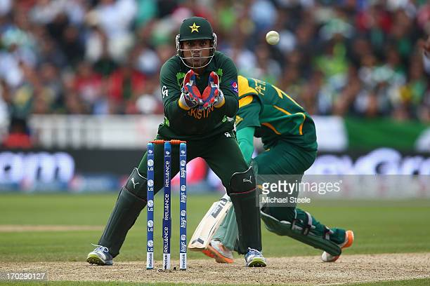 Kamran Akmal the wicketkeeper of Pakistan during the ICC Champions Trophy Group B match between Pakistan and South Africa at Edgbaston on June 10...