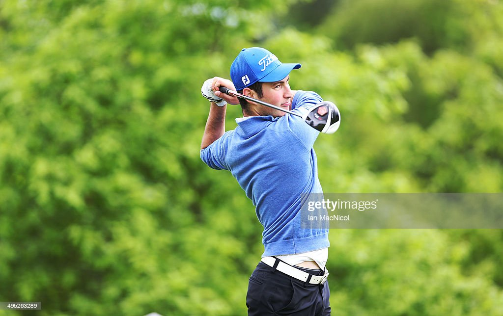 KINGDOM - JUNE 02 Kamran Zeynalov of Paul Lawrie Golf Centre tee's off at the first during the Powerade PGA Assistants' Championship - Scottish Regional Qualifier at Auchterarder Golf Club on June 02, 2014 in Auchterarder, Scotland.