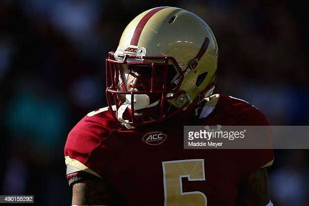 Kamrin Moore of the Boston College Eagles looks on during the second half against the Northern Illinois Huskies at Alumni Stadium on September 26...