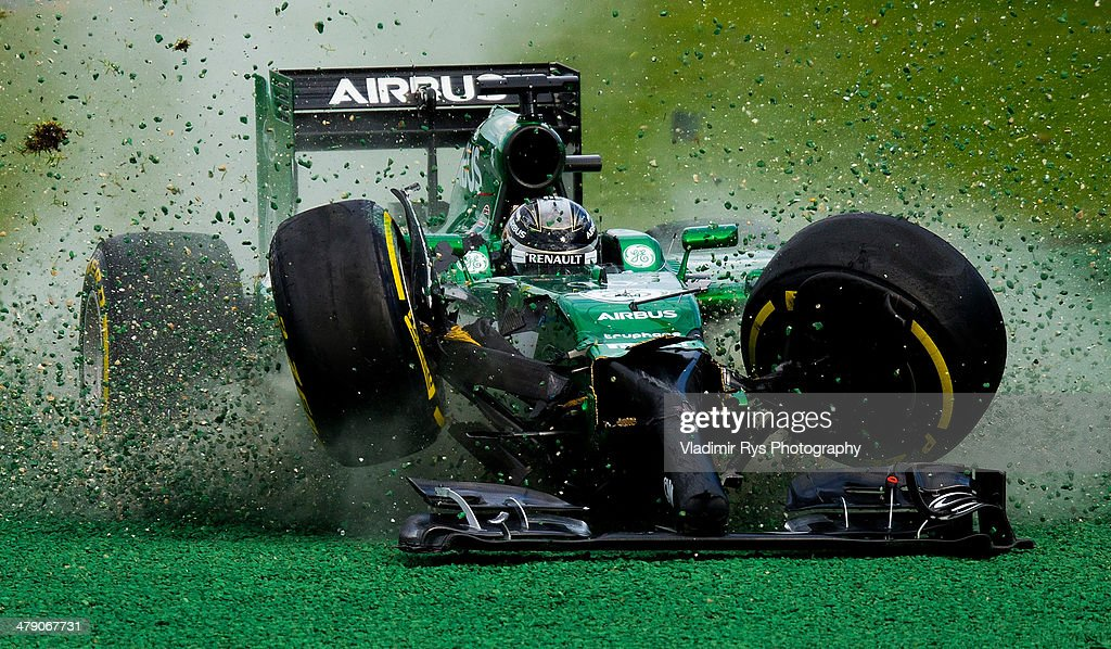 <a gi-track='captionPersonalityLinkClicked' href=/galleries/search?phrase=Kamui+Kobayashi&family=editorial&specificpeople=4687022 ng-click='$event.stopPropagation()'>Kamui Kobayashi</a> of Japan and Caterham gets off the track after crashing into Felipe Massa of Brazil and Williams during the Australian Formula One Grand Prix at Albert Park on March 16, 2014 in Melbourne, Australia.